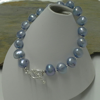 Large Genuine Freshwater Water Cultured Pearl Bracelet Sterling Silver