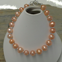 Deep Peach Freshwater Cultured Pearl Bracelet Sterling Silver