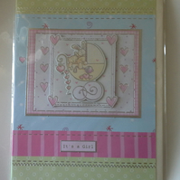 New Baby Girls Card Large A5 size