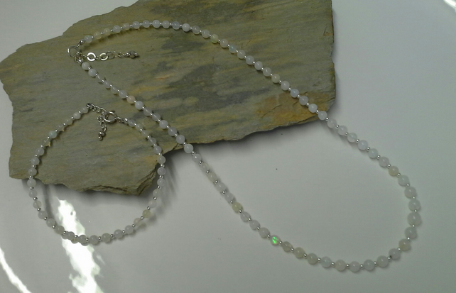 Opal Necklace & Bracelet Set Sterling Silver