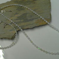 Quality Genuine Opal Necklace & Bracelet Set Sterling Silver