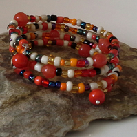 Orange Beaded Memory Wire Bracelet