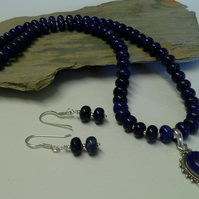 Quality Genuine Lapiz Lazuli Necklace & Matching Earings Sterling Silver