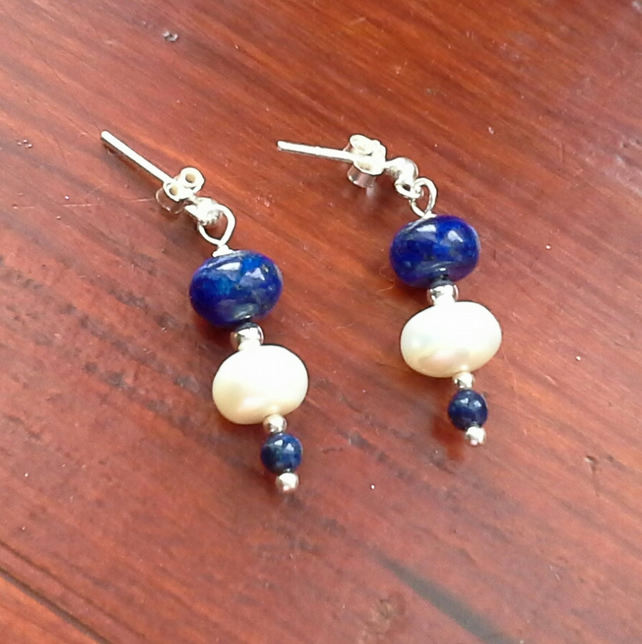 Lapis Lazuli & White Cultured Pearl 925 silver  Order