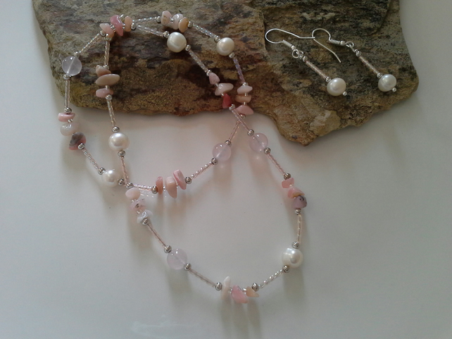 Rose Quartz, Pink Opal Shell Pearl Set Silver Plated