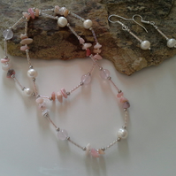 SALE Rose Quartz, Pink Opal , Shell Pearl Set Silver Plated