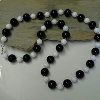 Genuine Quality Black & White Agate  Necklace Sterling Silver