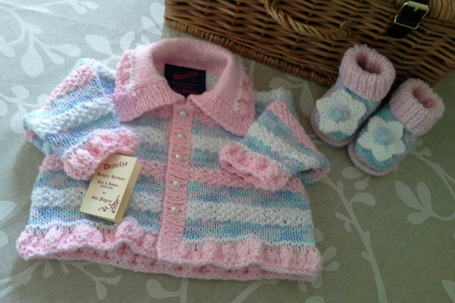 Baby Girls Jacket & Booties Set 0-6 months