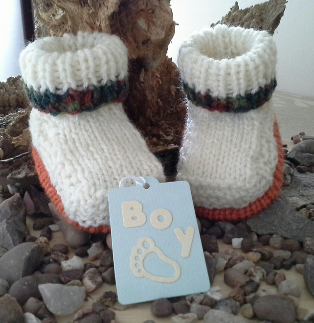 SALE ITEM Baby Boys  Aran Winter Booties with wool  0-6 months