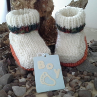 Baby Boys  Aran Winter Booties with wool  0-6 months
