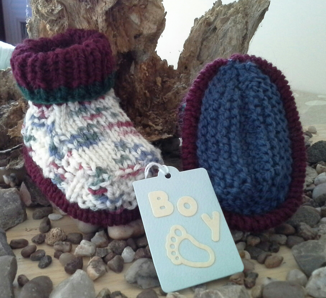 Baby Boys Thick Aran Winter Booties with wool 0-6 Months