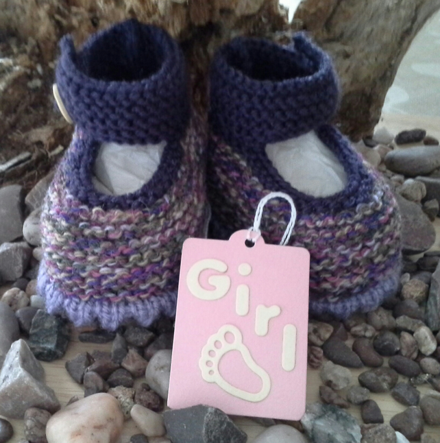 Baby Girl's Hand Knitted Shoes  with wool and cotton content 0-6 months