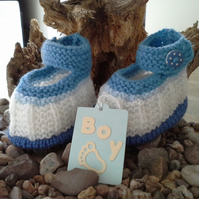 Baby Boys Hand Knitted Shoes 0-6 months