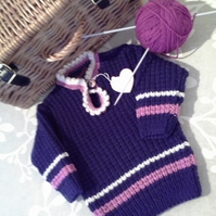 Baby Girls Super Soft Aran Ribbed Jumper 6 -12 months