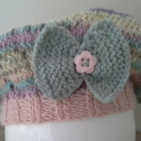 Baby Girls Beret  with Marino Wool & Cotton  0-6  months size