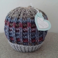 Baby Boys Beanie Hat 9-18  months  (with Marino Wool)
