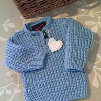 Baby Boys Super Soft  Ribbed Aran Jumper 0-6 Months size