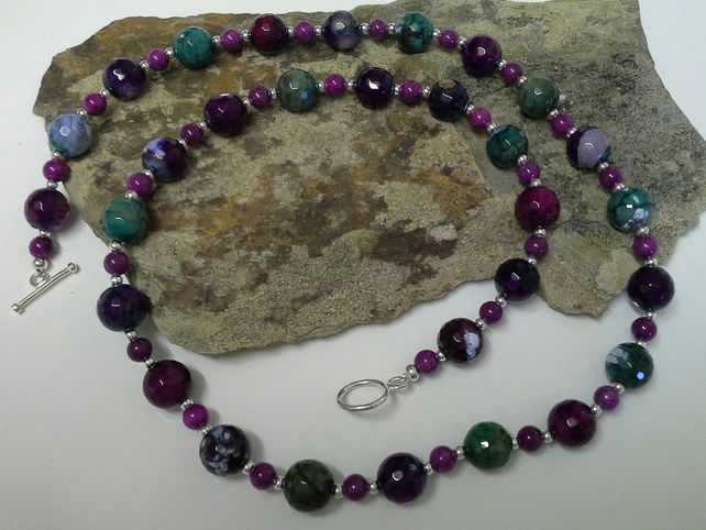 Genuine Faceted  Agate Necklace Set Silver Plated