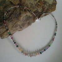 Multi Coloured Faceted Genuine Sapphire Sterling Silver Necklace