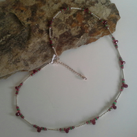 Genuine Faceted Ruby, Tvavorite Garnet & Red Spinel Sterling Silver Necklace