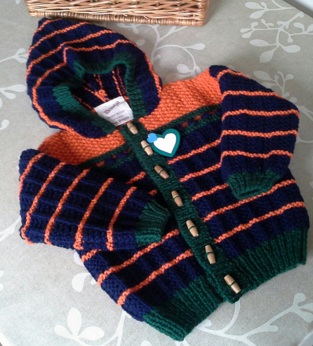 Hand Knitted Hooded Child's Jacket 18-24 months