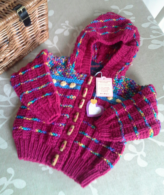 Baby Girl's Aran Hooded Jacket  9-18 months size