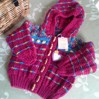 Baby Girl's Aran Hooded Jacket with wool  9-18 months size