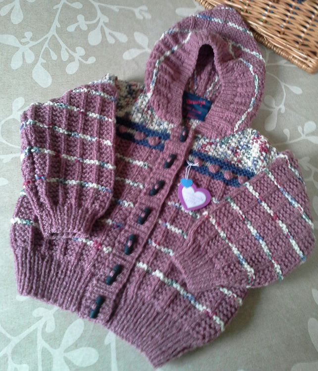 Girl's Aran Hooded Jacket  18-24 months