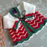 Baby Girl's Hand Knitted Cardigan 6-12 months