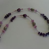 Fresh Water Pears,  Amethyst,  Hand Made Centre Clay Bead Silver Plated Necklace