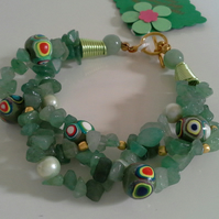 Green Aventurine & Hand Made Beads, shell pearls