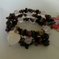 Genuine Tourmaline and Rose Quartz Memory Wire Bracelet