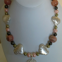 Rhodochrosite,  Pink Arogonite,  Haematite  & Pearl 'One Off' Chunky Necklace
