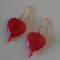 Large Heart Dyed Quartzite Earrings Rose Gold Vermeil