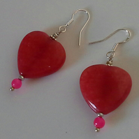 Large Genuine  Dyed Quartzite Heart Earrings Sterling Silver