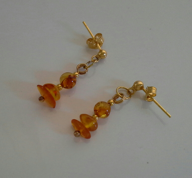 Gold Vermeil Genuine Amber Earrings (gold over 925 sterling silver)