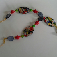 Printed Mother of Pearl,  Coral, Necklace Gold Plated