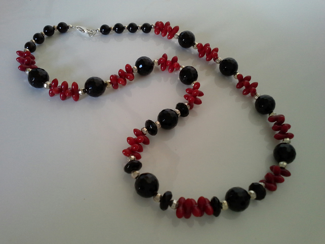 Genuine Statement Red Coral & Black Onyz Necklace 925 Sterling Silver