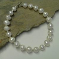 "Genuine Fresh Water Pearl Sterling silver Bracelet  7"" inches"