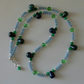 Green Lapis Lazuli Faceted, Quartzite & Glass Bead Silver Plated Necklace