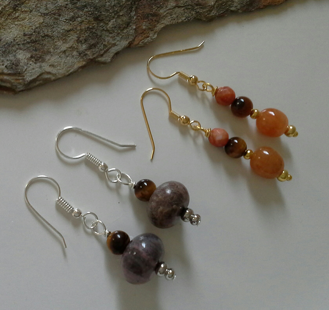 2 Pairs of Genuine Mixed Gemstone Wire Wrapped Earrings