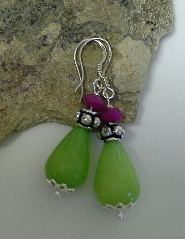 Genuine Quarzite Sterling Silver Earrings