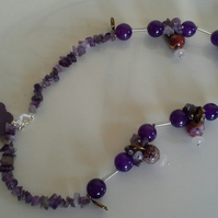 Genuine Amethyst,  Jade, Rose Quartz and Jasper Necklace