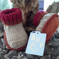 Baby Boys Aran Boots with wool  0- 6 months