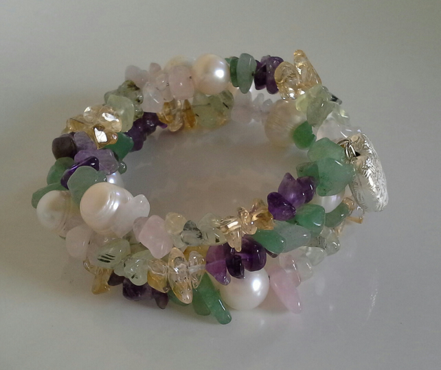 Genuine Gemstone Memory Cuff  Wire Bracelet