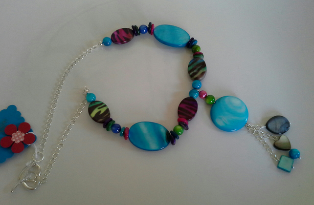 Multi coloured Mother of Pearl Silver Plate Necklace