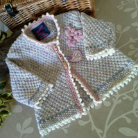 Baby Girl's Long Aran Jacket with wool 9-18 months size