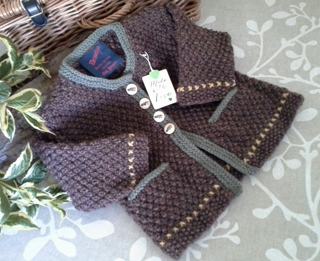 Baby Boys Long Aran Jacket  12-18 months size
