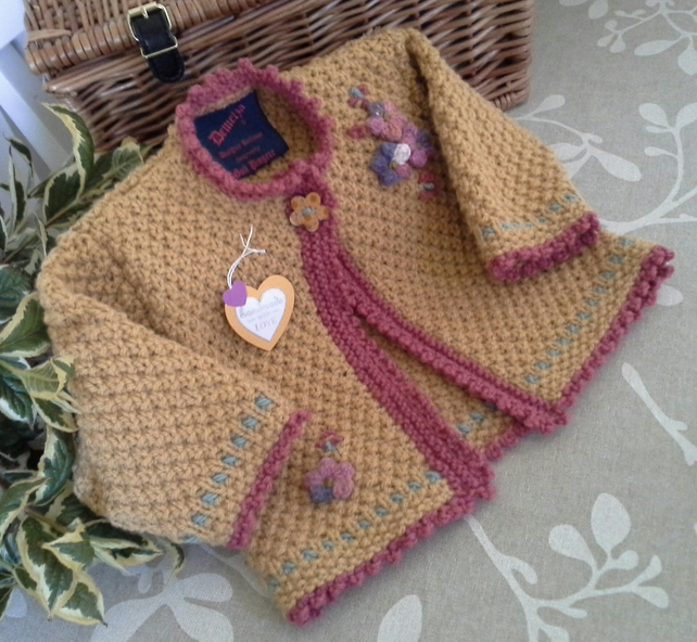 Baby Girl's Long Aran Jacket   12-18 months size
