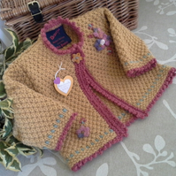 Luxery Baby Girl's Long Aran Jacket with wool 12-18 months size